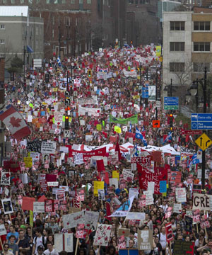 Thousands protest Quebec tuition hikes