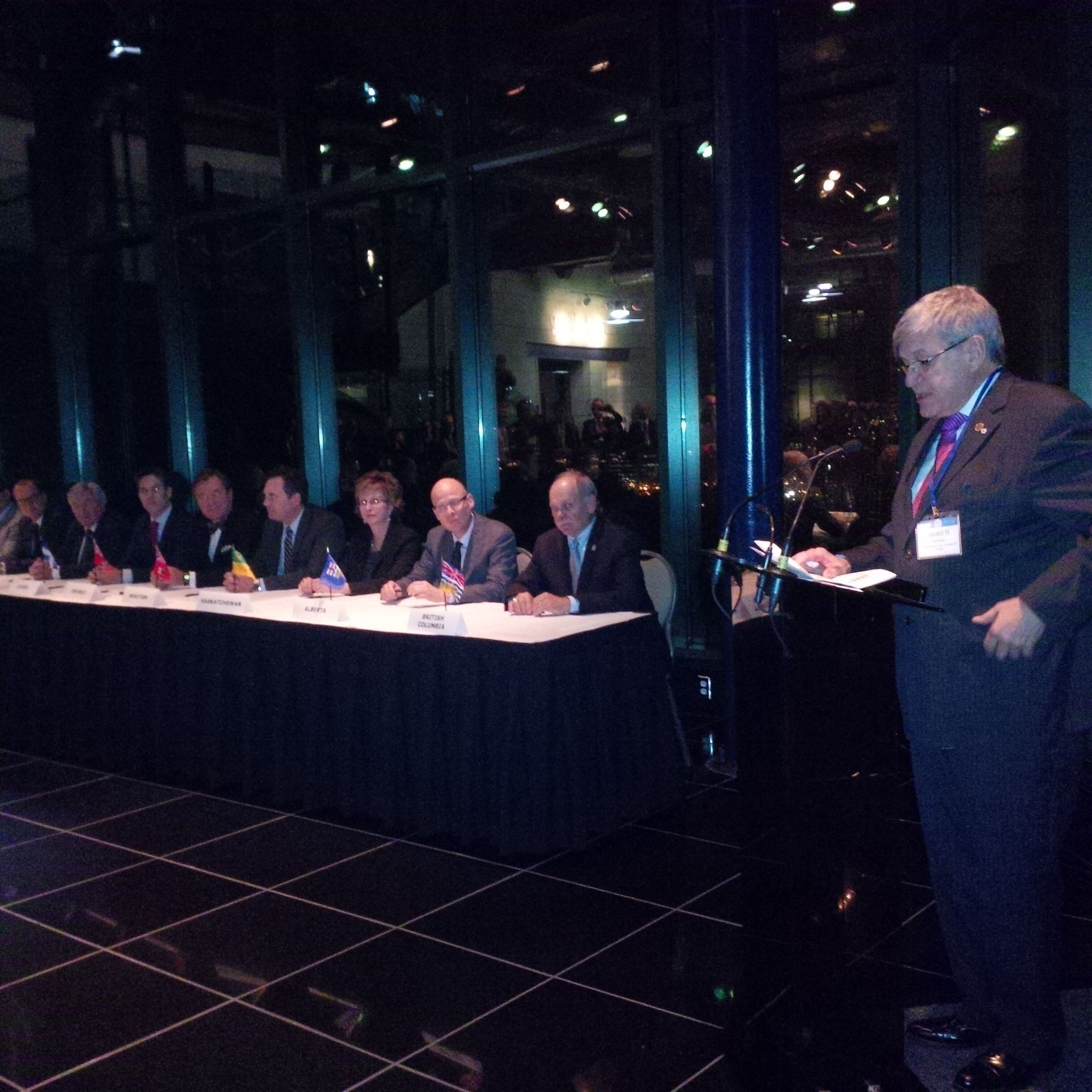 Signing of the National Mobility Agreement in St. John's Thursday night.