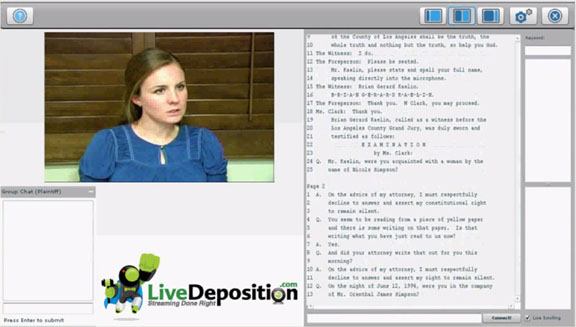 live deposition screen grab