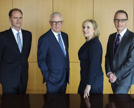 The founding partners of Hansell McLaughlin Advisory are (l to r): David Scott, Ron McLaughlin, Carol Hansell, Peter Block.
